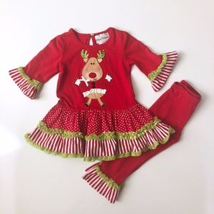 Girls Rare Editions Christmas Reindeer Outfit 2T
